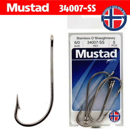 Mustad Stainless O'Shaugnessy Hooks 34007-SS