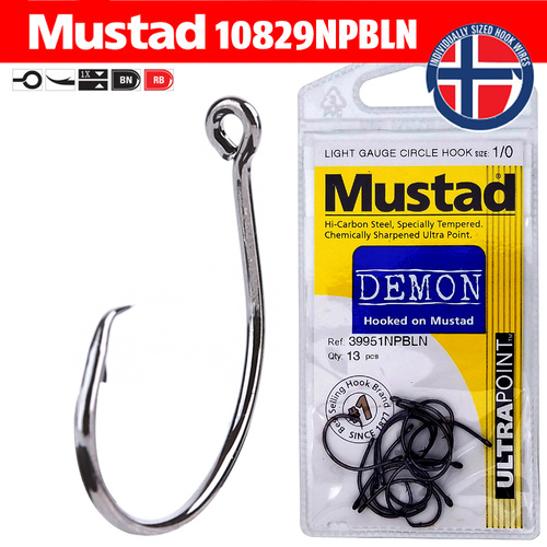 Mustad Demon Circle Hooks 39951NPBLN - Light Gauge image